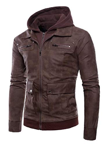 Size up Plus Fake PU EnergyMen Two Zip Outwear Faux As2 Leather Jackets a85EqFx