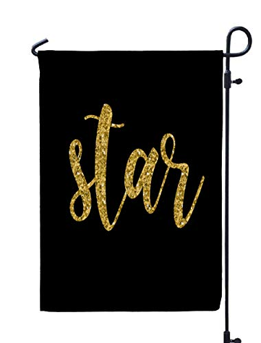 GROOTEY Welcome Outdoor Garden Flag Home Yard Decorative 12X18 Inches Handwritten Star Gold Isolated Black Doodle Handmade Quote Shirt Birthday Gift Card Party Double Sided Seasonal Garden Flags ()