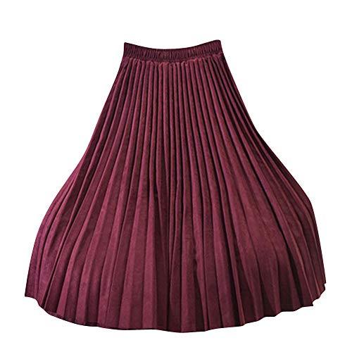 Jupe De Dames Taille Haute Lache Mode Dcontracte Jupe Confortable Jupe Plisse Vin Rouge