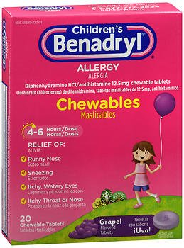 Benadryl Children's Allergy Chewable Tablets Grape Flavored - 20 ct, Pack of (Childrens Benadryl)