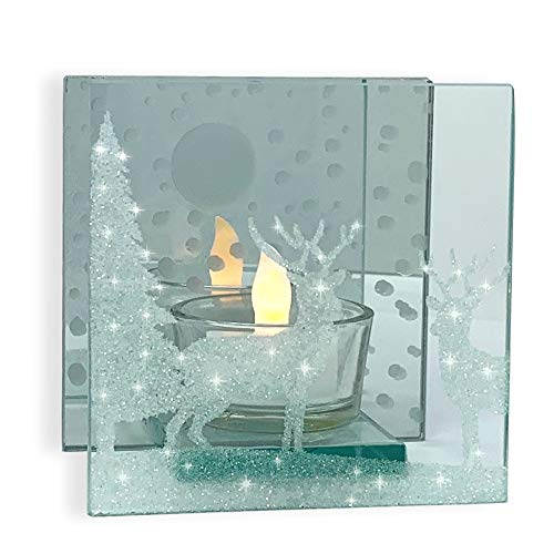 BANBERRY DESIGNS Glitter Deer in the Moonlit Woods Candle Holder - Glittered Christmas Deer Scene Painted on a Mirrored Infinity Candle - White Flameless Tea Light Candle Included- Glittery Reindeer