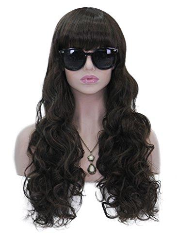 Women's Hair Cosplay Party Wigs Dark Brown Long Curly Bangs Full Wig - 4