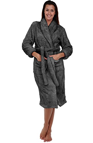 Alexander Del Rossa Womens Fleece Robe, Plush Microfiber Bathrobe, 3X 4X Steel Gray - Bathrobe Microfleece Womens
