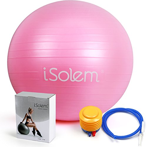 Exercise Balls – iSolem 65cm Yoga Workout/Fitness/Pilates Ball – Resistant Slip & Burst Stability Swiss Ball with Foot Air Pump for Balance Training,Gym,Core Strength,Birthing,Stretching,Office Chair – DiZiSports Store