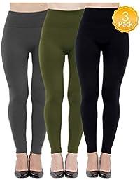 6 Pack Women High Waist Leggings Fleece...