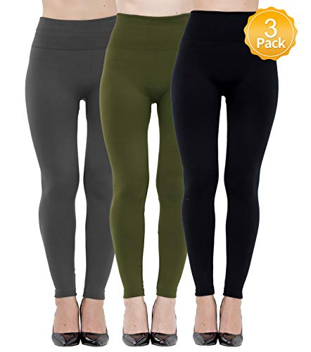 (Dimore 3 Pack Womens Leggings High Waisted Fleece Lined-Winter Thich Leggings Pants)