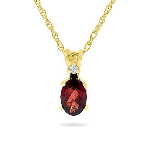 14k Yellow Gold Genuine Oval Garnet and Diamond Pendant, Birthstone of January, 18