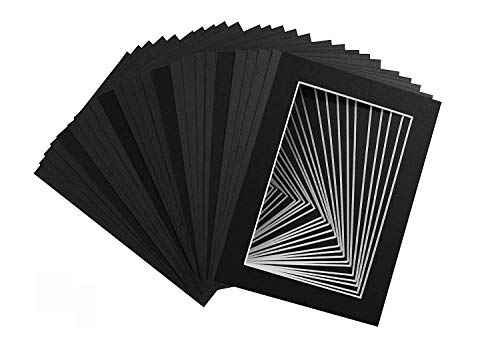 Center Postcard - Mat Board Center, Pack of 25, 5x7 Black Picture Mats with White Core for 4x6 Pictures