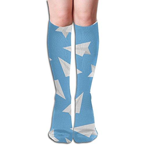 Blue Paper Plane Big Girls/Women Unique 3D Pattern Knee High Socks Warm Cotton (Donner Paper Holder)