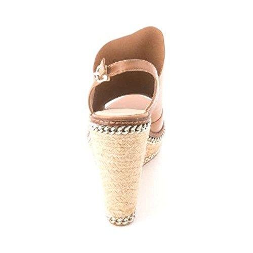 Carolinna Espinosa Kvinna Rent Läder Öppen Tå Tillfällig Plattform Sandaler Sand