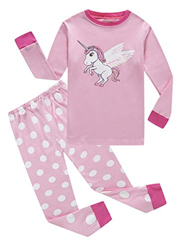 Unicorn Little Girls Long Sleeve Pajamas Sets 100% Cotton Sleepwears Kids Pjs Size 6