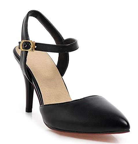 Easemax Mujeres Punta Estrecha Dulce Tobillo Correa Hebilla Stiletto Gatito Talones Bombas Zapatos Negro