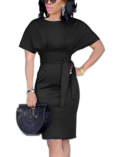 Women's Formal Pencil Dress Business Wear to Work Casual Short Sleeve Dress with Belt Black XXXL by SCORP (Image #4)