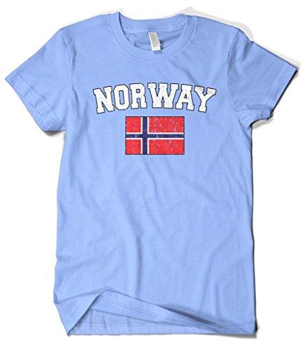 Cybertela Men's Faded Distressed Norway Flag T-Shirt (Light Blue, - Norway Light Blue