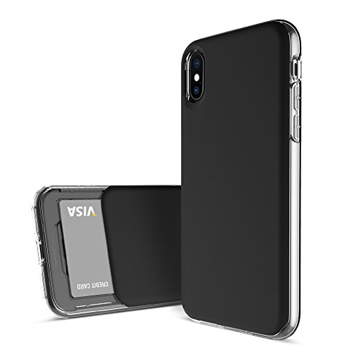 DesignSkin iPhone Xs Slider Slim TPU Case, Dual Layer Protection w/Ultra Thin Card Slot Storage Cover for Apple iPhoneX & XS - Matte Black