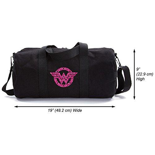 Wonder Woman Logo Heavyweight Canvas Duffel Bag, Black & Glitter Pink, Medium