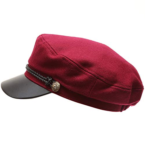 (MIRMARU Women's Classic Mariner Style Greek Fisherman's Sailor Newsboy Hats with Comfort Elastic Back (3033 Burgundy))