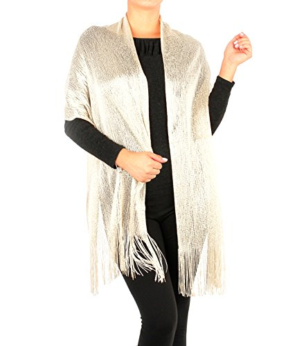 Women's Two Tone Modern Metallic Fishnet Acrylic Party Shawl Fringe Lurex Scarf (White Shawl Dinner)