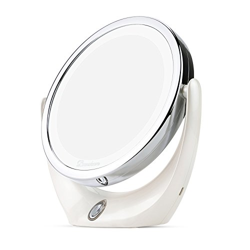 Double Sided Lighted Makeup Mirror (BROADCARE Makeup Mirror LED Lighted 1X/ 5X Magnifying Double Sided Vanity Mirror 360 Degree Rotation USB Rechargeable Cosmetic Mirror for Countertop Bathroom Travel)
