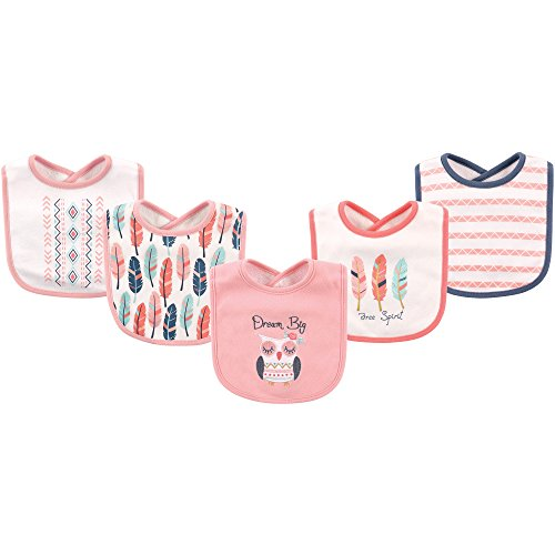 Hudson Baby Baby Cotton Drooler Bib, 5 Pack, Dream Big, One Size