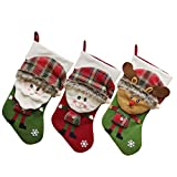 BESTOYARD 3pcs Christmas Stockings Xmas Tree Fireplace Hanging Decorations Candies Gifts Bags Christmas Party Favors Supplies (Santa/Snowman/Elk)