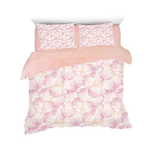 Flannel 4 pieces on the bed Duvet Cover Set 3D printed for bed width 4ft Pattern Customized bedding for girls and young children,Pastel,Soft Pink Flower Petals Watercolor Painting Style Rose Blossom R
