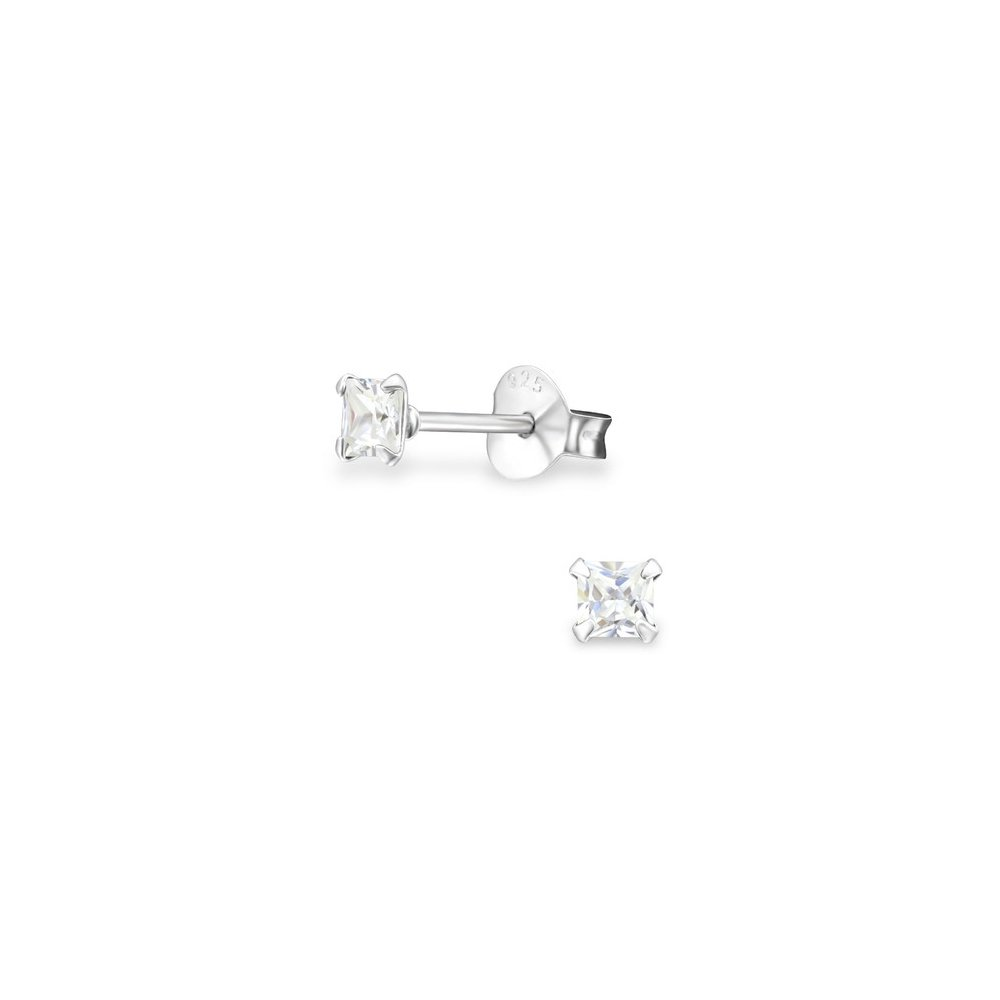 925 Sterling Silver Cubic Zirconia Square 3Mm Basic Ear Studs