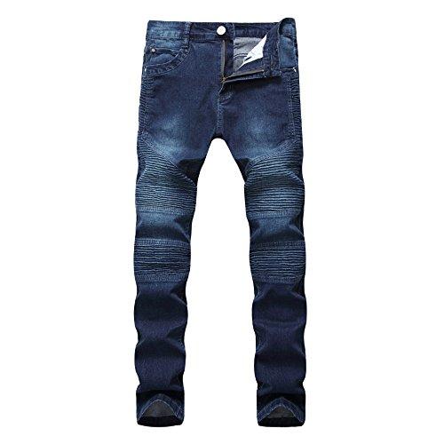Ultime Distrutto Strappato uomo Sdrucito Jeans Scuro Casuale Uomo Cut Patchato Jeans Destroyed Moda Distrutti Blu Jeans Biker Pantaloni Denim vPEwxp