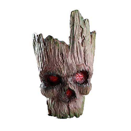 Skull Flower Pot, Treeman Pen Holder Flower Pot, Green Plant Creative Skull Flower Pot, Skull Makeup Brush Holder(Brown) -