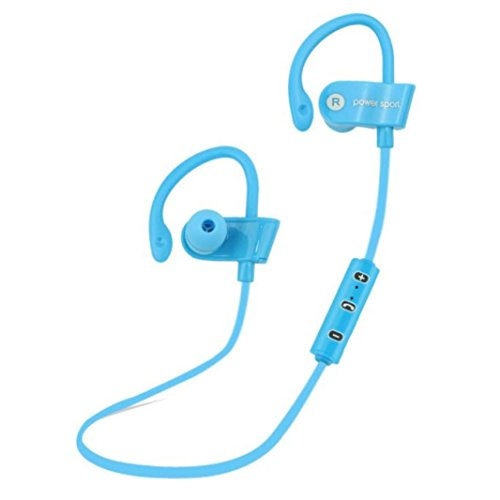 Price comparison product image Bluetooth Headphone, Mosunx(TM) Ear Hook Wireless Sports Stereo Waterproof Headset (Blue)