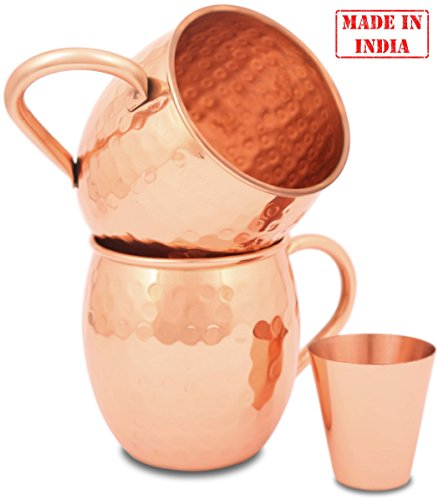 Moscow Mule Copper Mugs – Set of 2 16 oz with Shot Glass and Straws – 100% Pure Copper without Extra Metals – Perfect Quality – A Perfect Gift for any Occasion – Hammered Mug – by ZAFMANN ()
