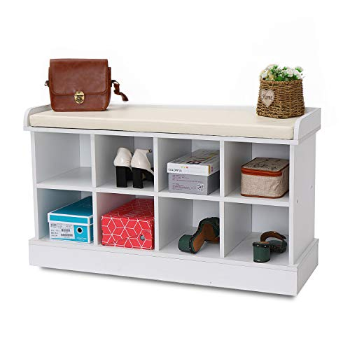 8 Cubbies Shoe Entryway Bench Storage with Fireproof Cushion Wood Cube Organizer Rack Cabinet Shlef Hallway White