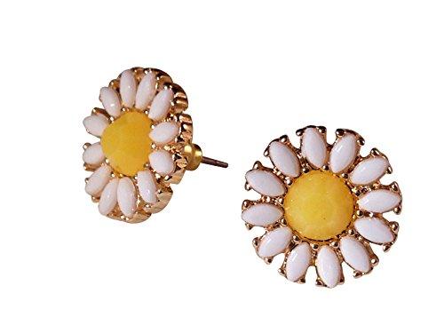 Katara Decor - Daisy Earrings Spring Flower Stud Nature (White Daisy Earrings)