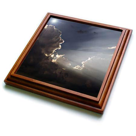 Framed Sunrays - 3dRose Stamp City - nature - Photograph of the sunrays shining through puffy white clouds. - 8x8 Trivet with 6x6 ceramic tile (trv_315596_1)