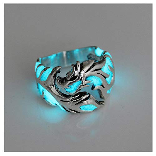 Womens Mens Ring 1Pc Women and Men Allergy Free Glow in The Dark Luminous Dragon Ring Party Gifts Silver Blue Green 11 -