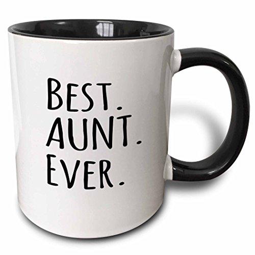 3dRose 151474_4 Best Aunt Ever Mug, 11 oz, Black