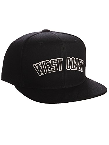 Original Snapback Custom American Cities State Letters Ajustable Flat Visor Cap (West Coast Black, White Black)
