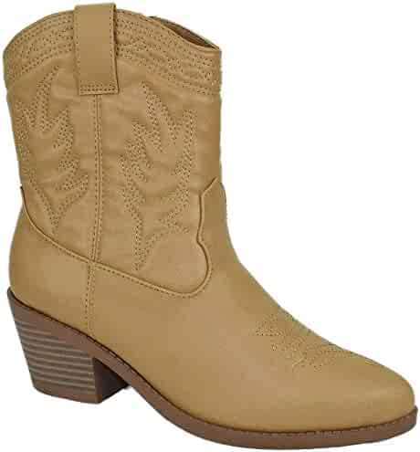 0877f8f57f1e Soda Women Cowgirl Cowboy Western Stitched Ankle Boots Pointy Toe Picotee