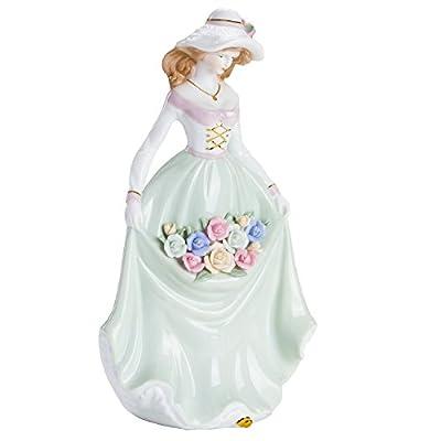 BRUBAKER Fine Woman Porcelain Figurine with Rose Dress