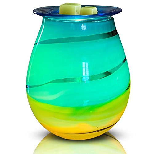 HEUNG HOI Electric Oil Warmer Art Glass Full-Size Scented Wax Warmer Tart Burner for Wax Melts Fragrance Warmer Night Light Aroma Decorative Lamp for Gifts & Decor for Home Office Bedroom Living (Electric Warmer Oil Scented)