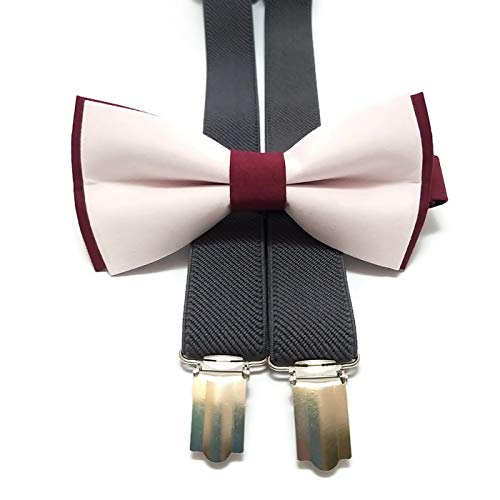 e5ac253f7d6d Image Unavailable. Image not available for. Color: BURGUNDY+BLUSH cotton bow  tie and CHARCOAL GRAY suspenders ...