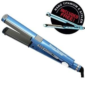 "BabylissPro Nano Titanium 1 1/4"" BLUE Straightening Iron PLUS FREE U-Style Iron in same box"