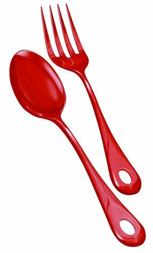 Nigella Lawson Living Kitchen de melamina para servir cuchara y tenedor rojo