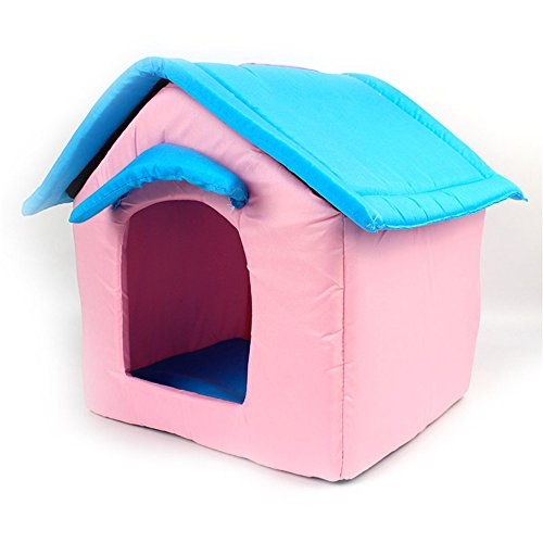 UMALL Cuddly Cave for Small Dogs Houses Indoor House Bed for Puppy Beds Foam Padding Soft Mats -