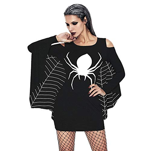 POTO Halloween Dresses for Women,Sexy Halloween Costumes Spider Print Uniform Cold Shoulder Bat Sheath Mini (Sexy Spider Witch)