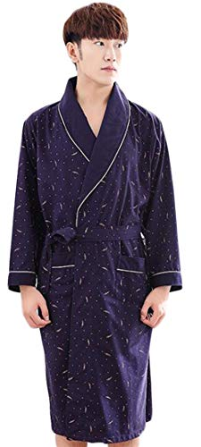 Bolawoo Invierno Larga Baño Mode Pijama Los Marca Algodón Robe E De Loungewear Traje Blue2 Largo Vestido Manga Inicio Hombres Ropa Otoño qqTPrz1