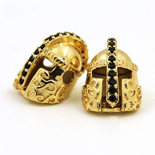 HOWEALTH 6pcs Spartans Helmet Beads, Roman Warrior Bead,Gold Silver Black Gun Rose Gold Charm Beads, Fit Mens Bracelet Making, jewlery Making (Yellow)