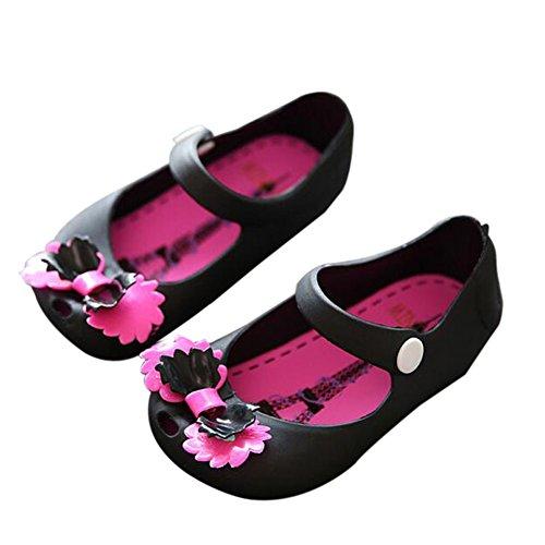 Hzjundasi Niña Bebés Linda Suave Jalea Bowknot Boca de pescado Antideslizante Casuales Zapatos Niñito Niños Playa Sandalias Lluvia Botas Negro