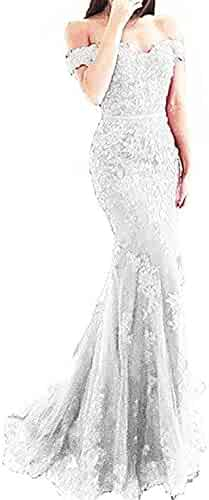 f1673c8e68c4 DarlingU Womens Mermaid Off Shoulder Lace Prom Evening Party Dresses  BeadedDS001