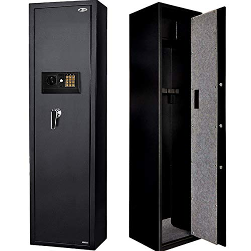 Rifle Safe Gun Safe with Separate Pistol Case (Black)- 5-Gun Shotgun Cabinet for Rife with/Without Scopes and Hand Guns (Electronic Code)